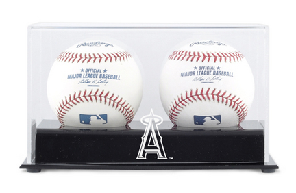 Deluxe MLB Two Baseball Cube Display Case with Los Angeles Angels of Anaheim Logo MM-DISP2CANGE
