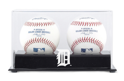 Deluxe MLB Two Baseball Cube Display Case with Detroit Tigers Logo