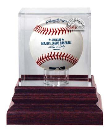 Colorado Rockies Antique Mahogany Base Baseball Display Case