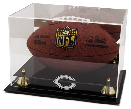 Golden Classic Football Display Case with Chicago Bears Logo