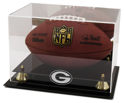 Golden Classic Football Display Case with Green Bay Packers Logo