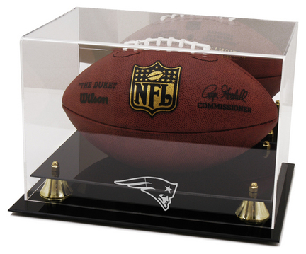 Golden Classic Football Display Case with New England Patriots Logo