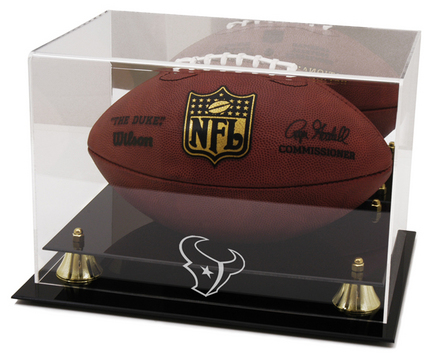 Golden Classic Football Display Case with Houston Texans Logo