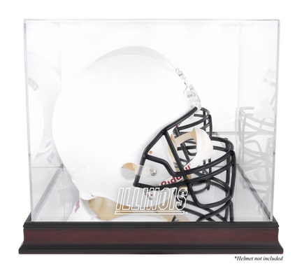 Illinois Fighting Illini Mahogany Logo Football Helmet Display Case with Mirror Back