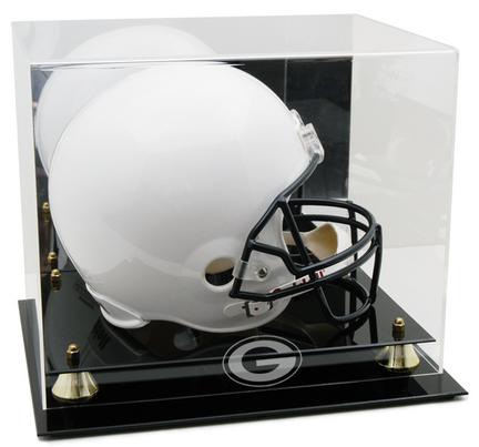 Georgia Bulldogs Logo Golden Classic Full Size Helmet Display Case