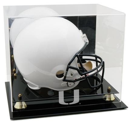 Miami Hurricanes Logo Golden Classic Full Size Helmet Display Case