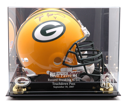 Golden Classic Full Size Helmet Display Case with Green Bay Packers / Touch Down Record Logo MM-DISPHCFAVT