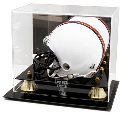 Texas Tech Red Raiders Logo Golden Classic Mini Helmet Display Case
