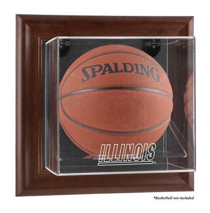 Illinois Fighting Illini Brown Framed Wall Mountable Logo Basketball Display Case