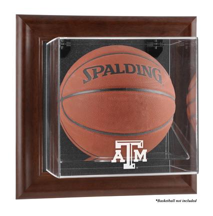 Texas A & M Aggies Brown Framed Wall Mountable Logo Basketball Display Case