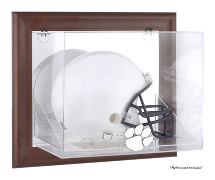 Clemson Tigers Brown Framed Wall Mountable Logo Football Helmet Display Case