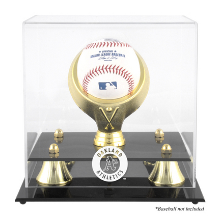 Golden Classic (BH-4 Gold Ring) Baseball Display Case with Oakland Athletics Logo