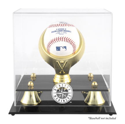 Golden Classic (BH-4 Gold Ring) Baseball Display Case with Seattle Mariners Logo