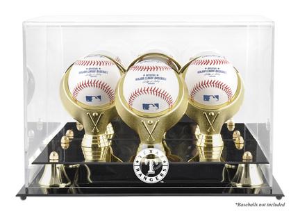 Golden Classic 3-Baseball Display Case with Texas Rangers Logo