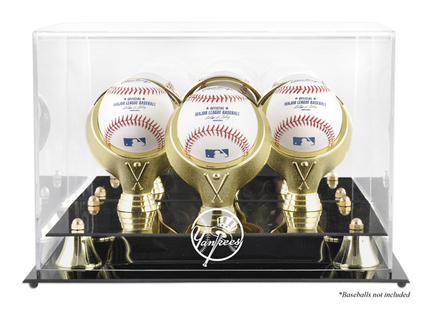 Golden Classic 3-Baseball Display Case with New York Yankees Logo