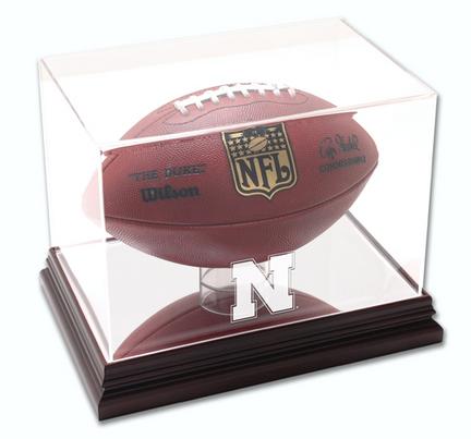 Football Display Case with Mahogany Finished Base and Nebraska Cornhuskers Logo