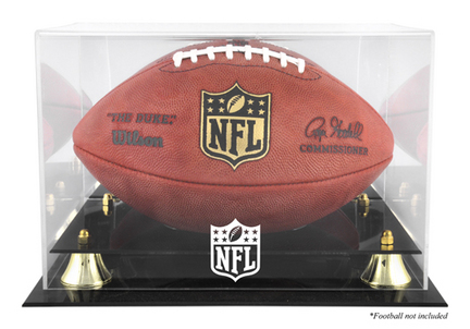 Golden Classic Football Display Case with NFL Logo