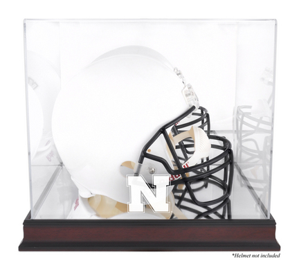 Full Size Football Helmet Display Case with Mahogany Finished Base and Nebraska Cornhuskers Logo