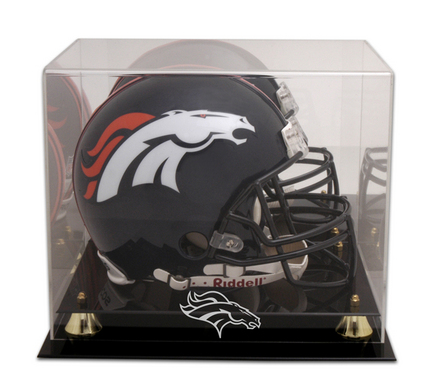 New Denver Broncos Football Helmet Display Case Black Sport Molding Uv Nfl Autographs-original