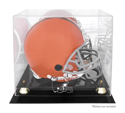 Golden Classic Football Helmet Display Case with Cleveland Browns Logo