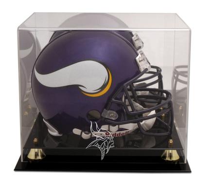 Golden Classic Football Helmet Display Case with Minnesota Vikings Logo