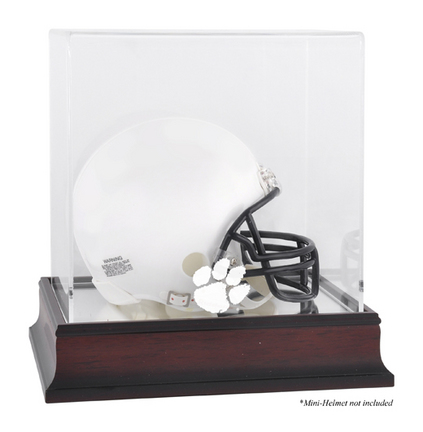 Mini Football Helmet Display Case with Mahogany Finished Base and Clemson Tigers Logo
