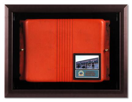 Orange Bowl Stadium Seat Brown Framed Wall Mountable Display Case