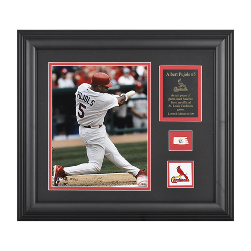 """Sporting Goods Stores Albert Pujols St. Louis Cardinals Framed 8"""" x 10"""" Photograph with Game Used Baseball Piece & Logo (Unframed)"""