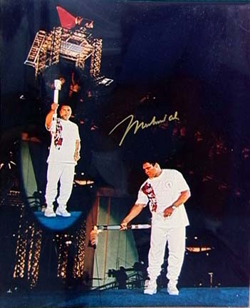Muhammad Ali Autographed 16 x 20 Photograph Olympic Torch