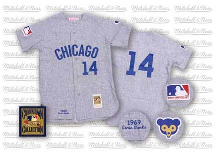 1969 Chicago Cubs Road Jersey From Mitchell & Ness, With #14 On Jersey (Ernie Banks)