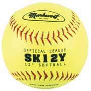 """12"""" Yellow Synthetic Cover Softballs from Markwort - (One Dozen)"""
