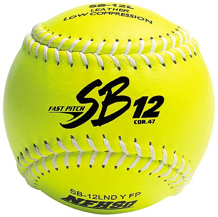"12"" Spalding SB12 Cork Center .47 COR Yellow NFHS Fast Pitch Softballs from Dudley - (One Dozen)"