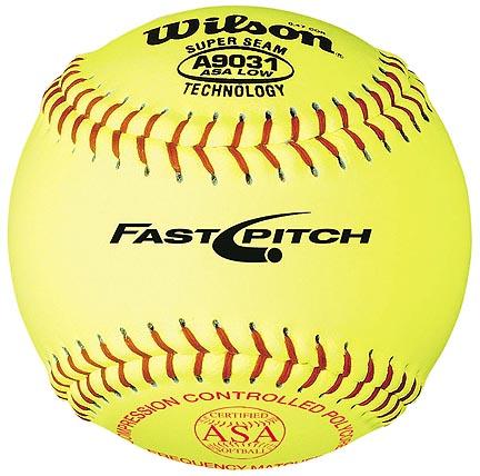 """Image of 12"""" A9031B ASA Yellow Raised Seam Softballs from Wilson - (One Dozen)"""