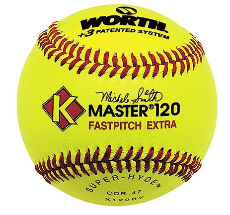 KMaster Red Stitch Yellow Superhyde Softballs from Worth  One Dozen