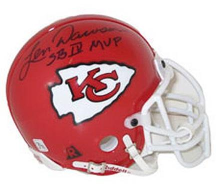 "Len Dawson, Kansas City Chiefs Autographed Riddell Authentic Mini Football Helmet Signed ""SB IV MVP� NAT-1905"