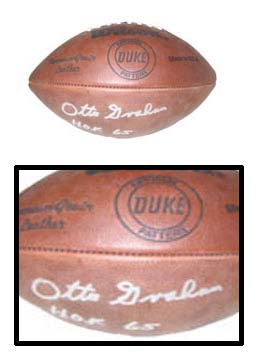"""Otto Graham, Cleveland Browns Autographed Wilson Official NFL """"Duke"""" Game Model Football - Signed """"HOF 65"""