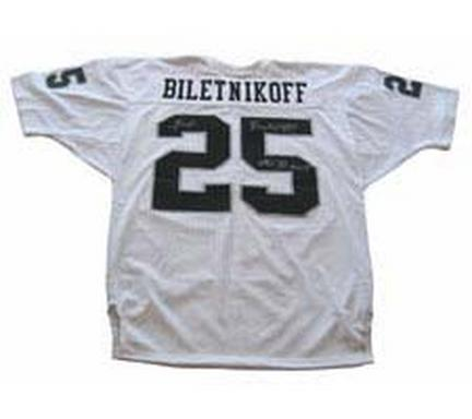 "Fred Biletnikoff Autographed Oakland Raiders Official NFL Old Style Authentic Jersey with ""SB XI MVP"" Inscript"