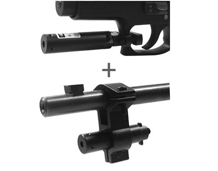 Black Red Laser Rifle Sight With Universal Barrel and Trigger Guard Mount Combo Set