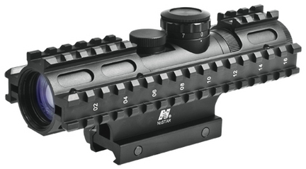 2-7x32 Compact Rifle Scope/3 Rail Sighting System/Blue Illumination Range Finder/Green/Weaver Mount