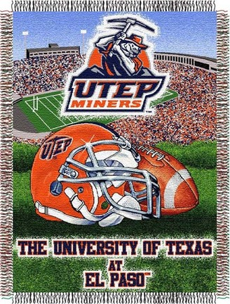 """UTEP Texas (El Paso) Miners """"Home Field Advantage"""" 48"""" x 60"""" Tapestry Throw Blanket"""
