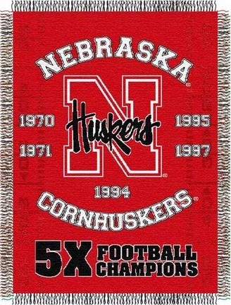 "Nebraska Cornhuskers ""Commemorative"" 48"" x  60"" Tapestry Throw Blanket"