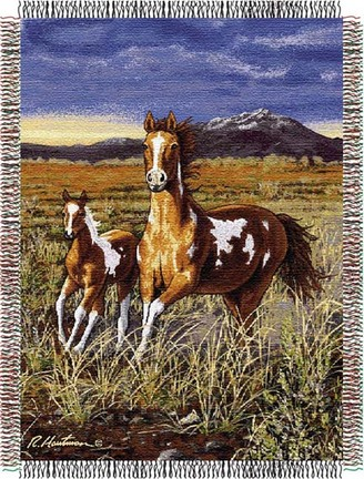 """Hautman Brothers """"HB Running Pintos"""" 48"""" x 60"""" Tapestry Throw Blanket"""