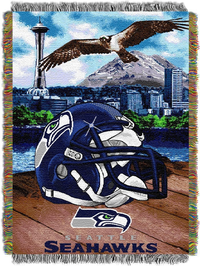 """Image of Seattle Seahawks """"Home Field Advantage"""" 48"""" x 60"""" Tapestry Throw Blanket"""