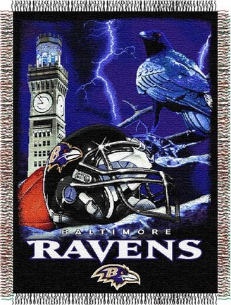 """Baltimore Ravens """"Home Field Advantage"""" 48"""" x  60"""" Tapestry Throw Blanket"""