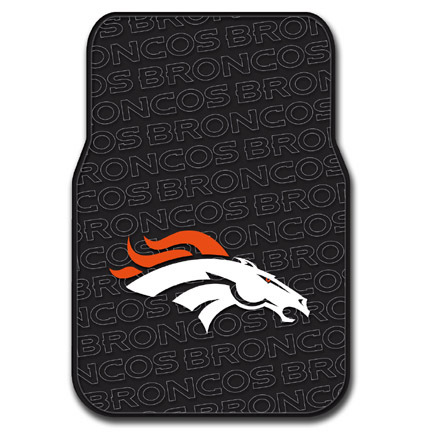 Denver Broncos Rubber Car Floor Mats (Set of 2 Car Mats)