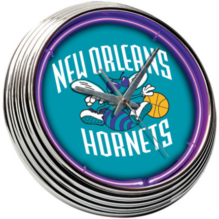 New Orleans Hornets Neon Wall Clock