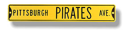 "Steel Street Sign:  ""PITTSBURGH PIRATES AVE."""