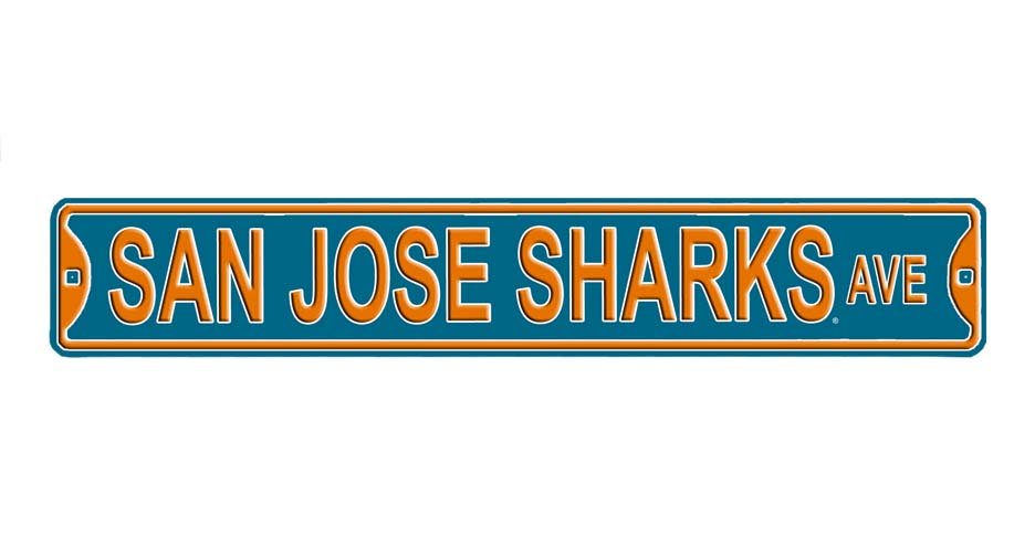 "Steel Street Sign:  ""SAN JOSE SHARKS"""