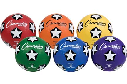 Size 5 Colored Soccer Balls (Set of 6, One of Each Color)