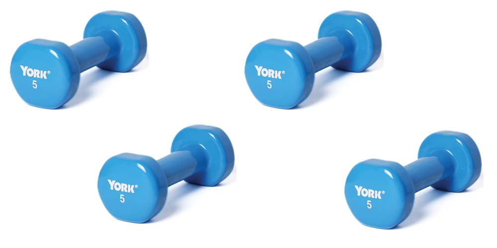 5 lb. Colored Vinyl Coated Dumbbells from York - 2 Pair (4 Dumbbells Total)